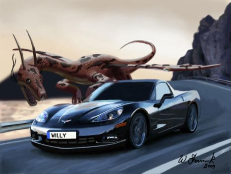 dragon vs car digital painting by WilliamsShamir