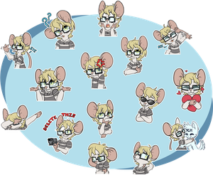 [Commission] OliverTheMouse Telegram Stickers by CutePencilCase