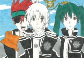 Lavi, Allen and Lenalee and Timcampy Portrait by Ergonis