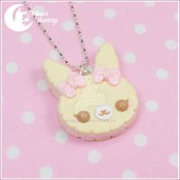 Cookie rabbit pink bows necklace by CuteMoonbunny