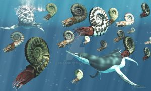 Ammonite Fishing in the Western Interior Seaway by PaleoGuy