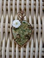Water lily Wire Wrap Pendant by magpie-poet