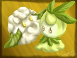 Cottonee and Petilil by CelticMagician