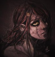 Red Queen - agony portait by Andante2