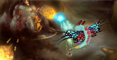 Azmodan Vs Brightwing: Fight for Skytemple by sofie-arts
