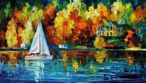 House Of The Lake by Leonid Afremov by Leonidafremov