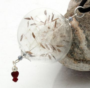 Valentines dandelion glass orb pendant by Xerces
