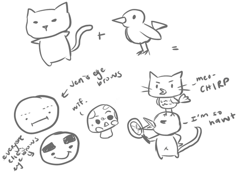 Cat + Bird = Birdcat by ChocoPiee