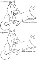 Father-Mother Feline Lineart by Noxtu