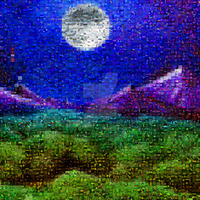 mosaic moon mountain by KRSdeviations