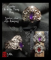 Cthulhu and Elder Things ring by somk