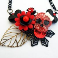 Girly Skull Collaged Necklace by AndyGlamasaurus