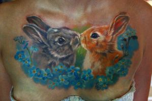 kiss rabbits tattoo by NikaSamarina
