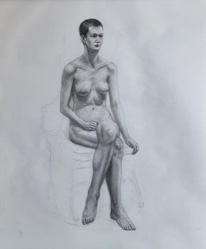 Nude Seated Female Study #1-2017 by Landscapist