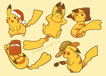 Pokemon - Event Pikachus by Zennore