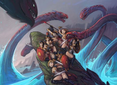 Amazon hydra painting (color sketch update) by Alexi-C