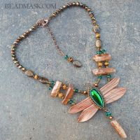 Leather Dragonfly Necklace by Beadmask