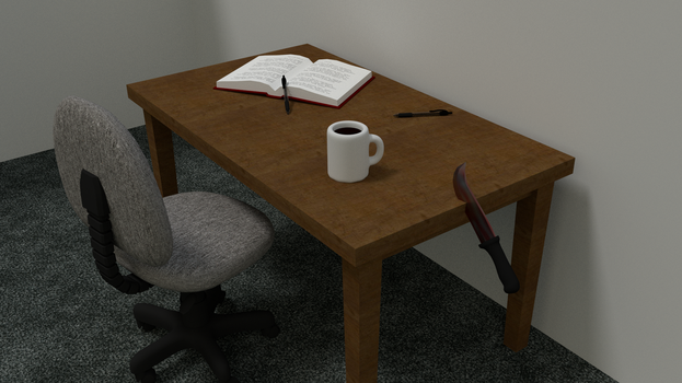 a boring desk with boring things on it by YourGodLucifer