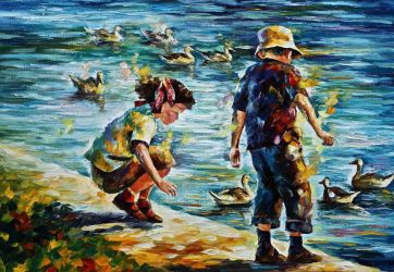 Childhood by Leonid Afremov by Leonidafremov