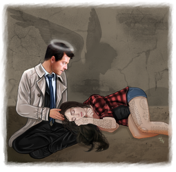 Castiel and Serendipity-I'll always watch over you by LadyMintLeaf