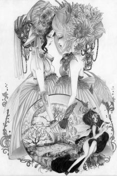 .:Seasons-Spring and Fall Faeries:. by Inktangles