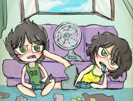 AT- Video games on a hot summer day by meimeix