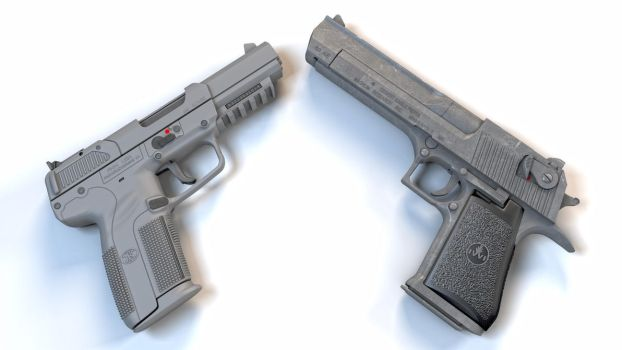 Desert Eagle and FN Five-Seven by macsix