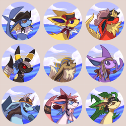 Pirate Eeveelution Buttons by ClefdeSoll