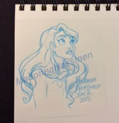 Lady's Curiosity - small sketch drawing - June 15' by ColorfulArtist86