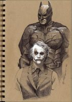 Dark Knight and Joker by PibbyPierce