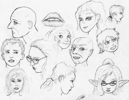 Face Sketches 180101 by TheMightyGorga