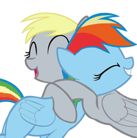 Derpy hugs Rainbow dash by pewdiedash