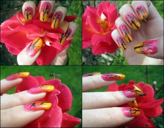 Sunset Tree Nails by soyoubeauty
