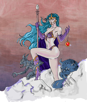 Evil witch with goblins (inked and colored) by electronicdave
