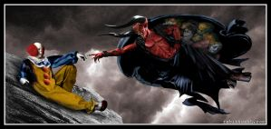 The Creation of Pennywise (Michelangelo/It/Legend) by Rabittooth