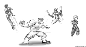 Marvel Digital Sketches by mell0w-m1nded