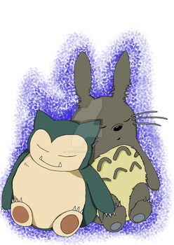 Snorlax and Totoro by Phosphoratic