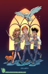 Harry, Ron, Hermione and their Pets by SalamanderArt