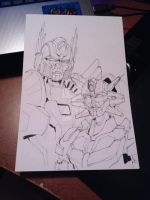 Optimus and Elita One ( AOE Style) by Elita-One-Arts