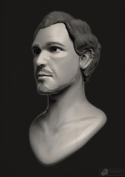 Male portrait sculpt by HellCharm