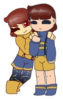 Outertale Chara x Frisk floof by synnibear03