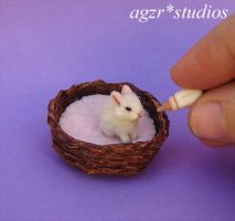 Ooak 1:12 Handmade Miniature Baby Bunny by AGZR-STUDIOS