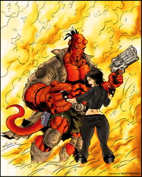 Hellboy and Liz COLORED by wizfrikiman