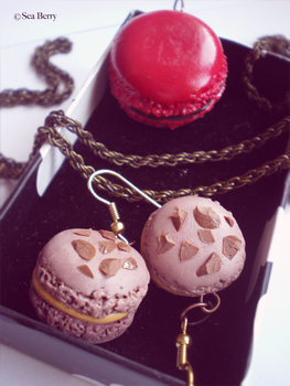 Macaron earrings and pendant-comission by SteamBerry