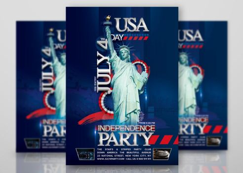 Flyer July 4th Independence Day Party Usa by n2n44studio