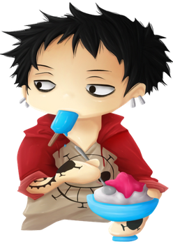 Chibi Law eating ice by Law67