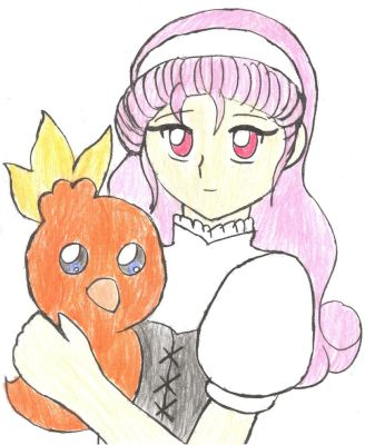 Popuri and  Torchic -Colored- by Chicken-Yuki