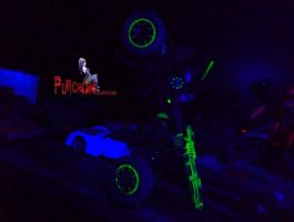 gobots customs , under uv light, smallfoot by puticron