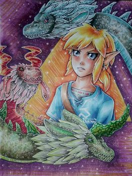 Link and the elemental dragons by yoshitaka