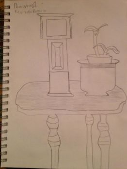 Wooden Clock and Budding Plant by Darksoul540